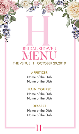 Bridal Shower Menu with initial H