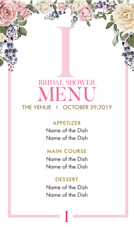 Bridal Shower Menu with initial I