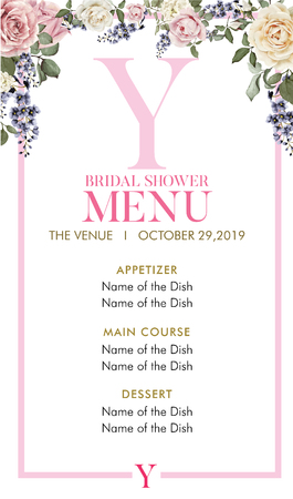 Bridal Shower Menu with initial Y
