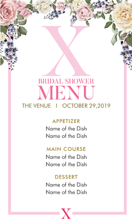 Bridal Shower Menu with initial X