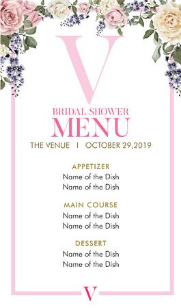 Bridal Shower Menu with initial V