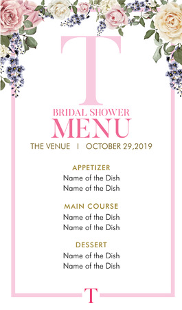 Bridal Shower Menu with initial T