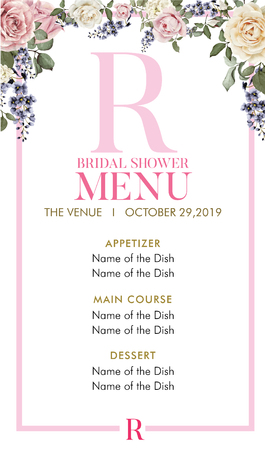 Bridal Shower Menu with initial R Ilustracja