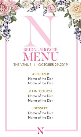 Bridal Shower Menu with initial N