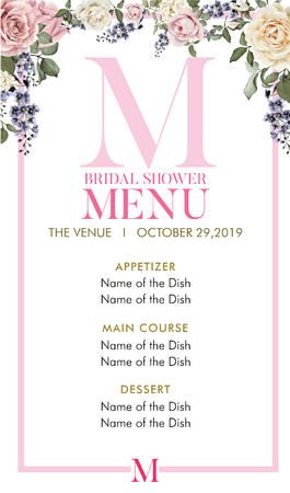 Bridal Shower Menu with initial M
