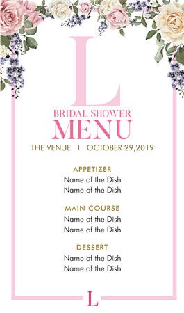 Bridal Shower Menu with initial L Stock Illustratie