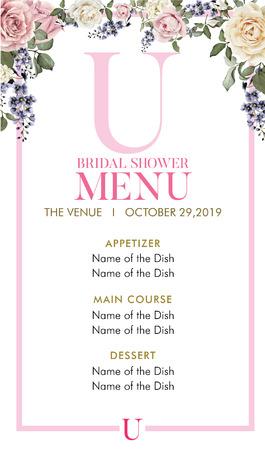 Bridal Shower Menu with initial U