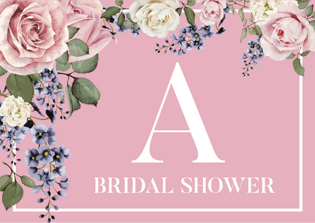 Bridal Shower Plate Coaster with initial A Illustration