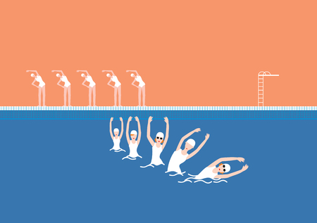 Vector Swimming Pool with Swimmer Orange