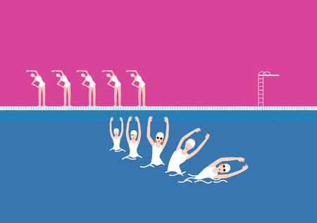 Swimming Pool with Five Swimmer Hot Pink