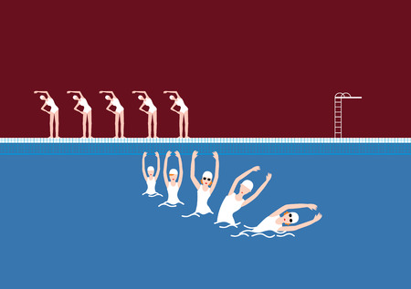 Vector Swimming Pool with Swimmer Maroon