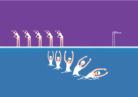 Vector Swimming Pool with Swimmer Purple
