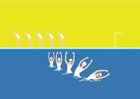 Vector Swimming Pool with Swimmer Yellow Illustration