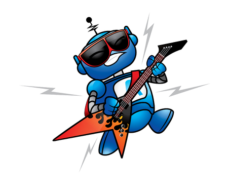 Blue Guitar Robot Vector