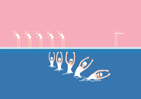 Vector Swimming Pool with Swimmer