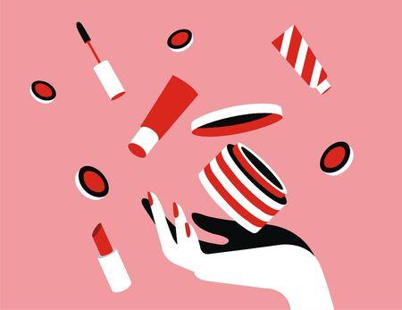 Illustration of Woman Stuff, Make Up, Sweet and Beauty