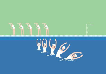 illustration of Swimmers at swimming pool Фото со стока