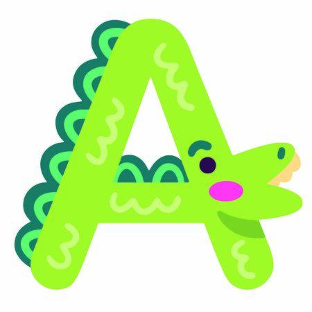 Stock Font - Decorative Font, animal alphabet A croocodile version 写真素材