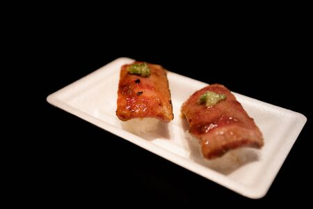 Stock Photo - Beef Sushi at Tokyo traditional market