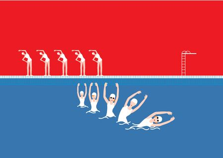Vector Swimming Pool with Swimmers