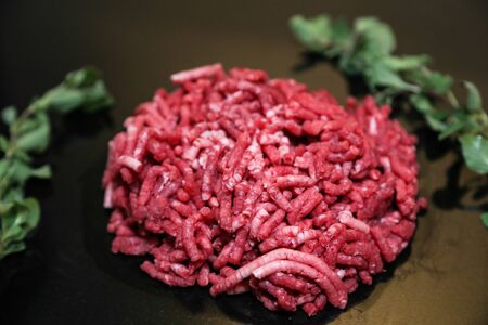 A Photograph of Fresh Minced Raw Beef Meat