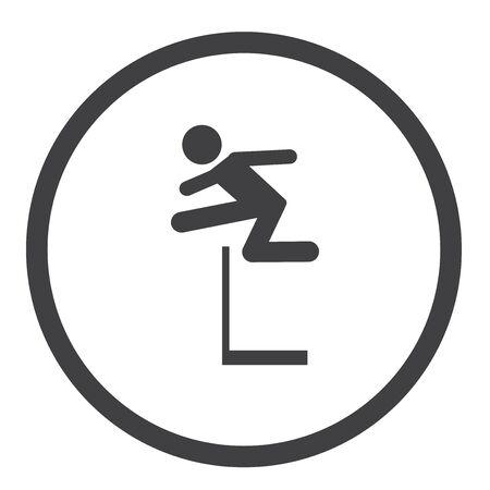 hurdle jump sport flat icon Stock Illustratie