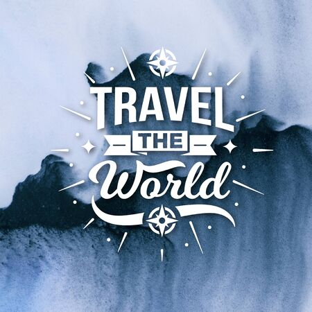 Stock Image - Typography Quotes Poster, Travel The World Banco de Imagens - 150112363