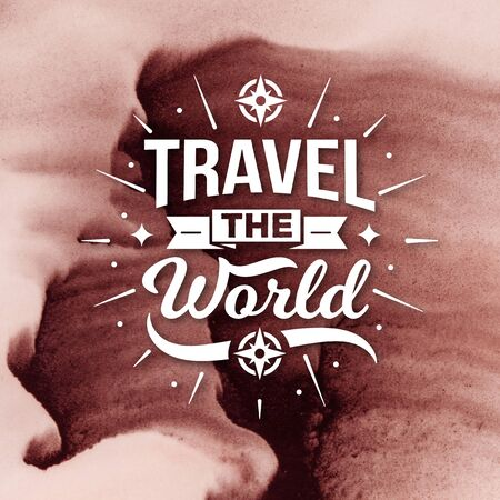 Stock Image - Typography Quotes Poster, Travel The World Banco de Imagens - 150112374
