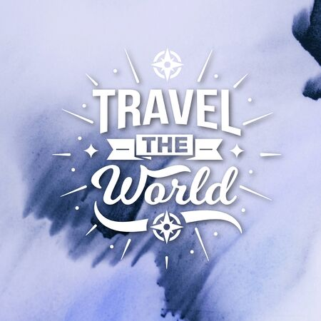 Stock Image - Typography Quotes Poster, Travel The World Banco de Imagens - 150112398