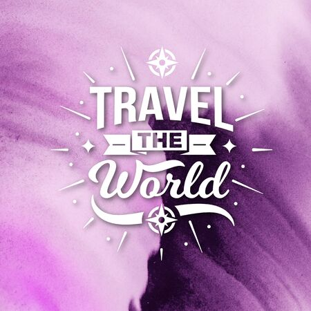 Stock Image - Typography Quotes Poster, Travel The World Banco de Imagens - 150112437