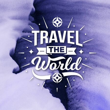 Stock Image - Typography Quotes Poster, Travel The World Banco de Imagens - 150112442