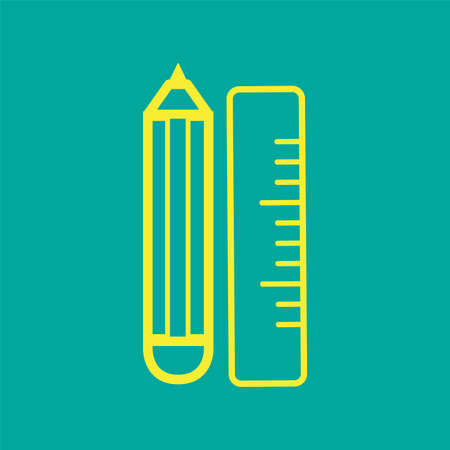 Stationary flat icon (ruler, cutter, pencil, eraser, scissors) 일러스트