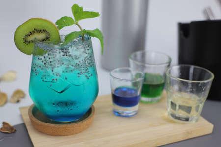 Stock Photo of Soda drink with Kiwi Flavor.