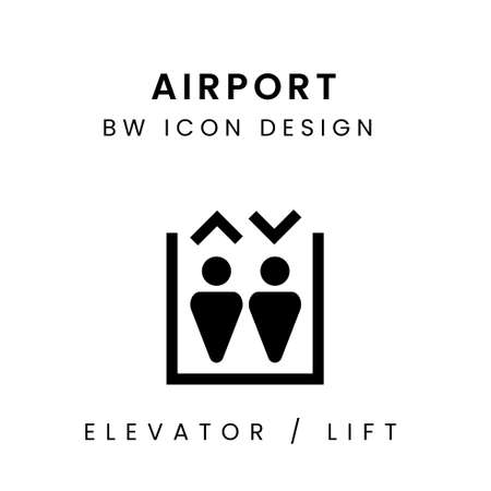 Airport BW Icon Design - Lift / Elevator Çizim