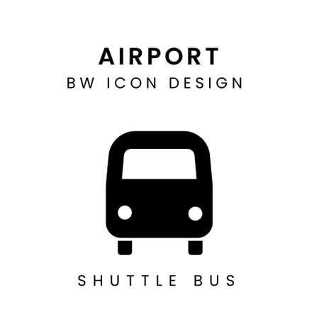 Vector of Airport Black & White Icon Design - Shuttle Bus