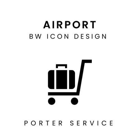 Vector of Black & White Airport Icon Design - Porter Service