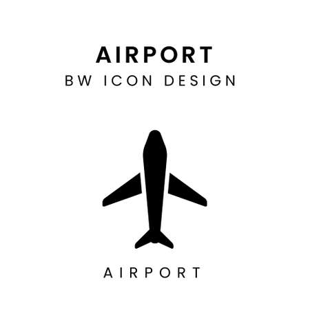 Vector of Black and White Airport Design Icon - Airport