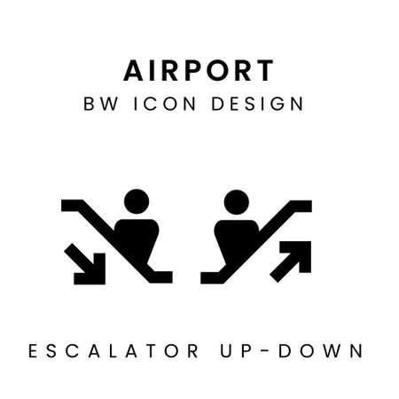 Vector of Black & White Airport Design Icon - Escalator Çizim