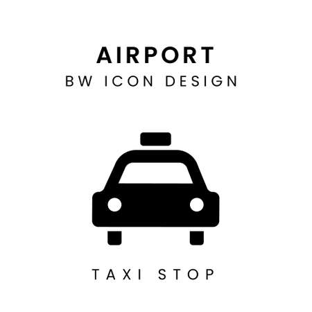 Black & White Vector of Taxi Stop Icon Design