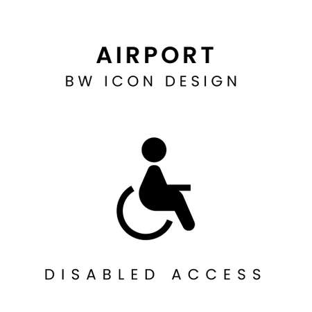 Black & White Vector of Disabled Access Icon Design