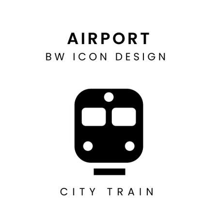 Black & White Airport Icon Vector - City Train
