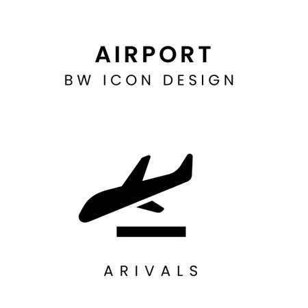 Vector of Black & WHite Airport Design Icon - Arrivals