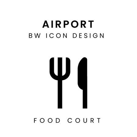 Vector of Black & White Airport Icon Design - Food Court