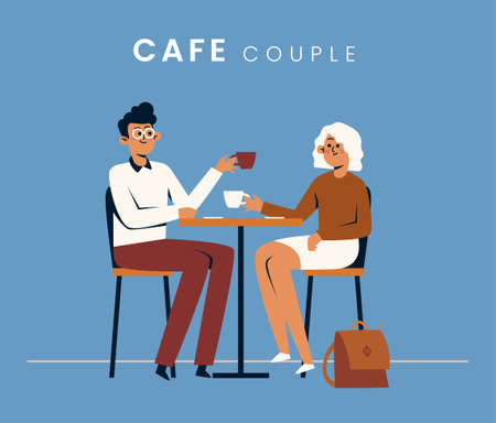 People in the cafe. Flat style icon design. Vector illustration. Çizim
