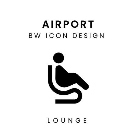 Vector of Black & White Airport Icon Design - Lounge Area Çizim