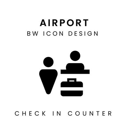 Vector of Airport Black & White Icon Design - Check In Counter