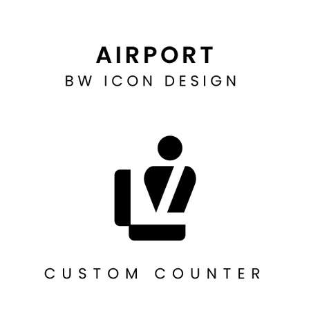 Black and White Airport Icon Design - Custom Counter