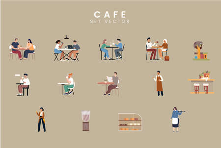 People in the cafe. Flat style icon design. Vector illustration.