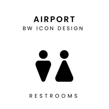Black and White of Airport Icon Design - Toilet