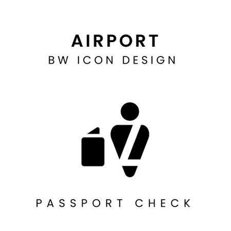 Black and White Airport Icon Design - Passport Check